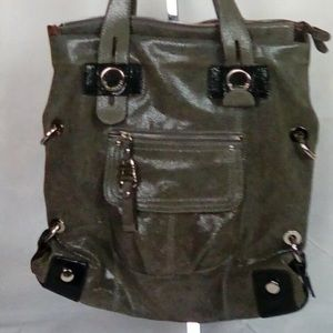 B Makowsky Olive Brown Large Leather Bag